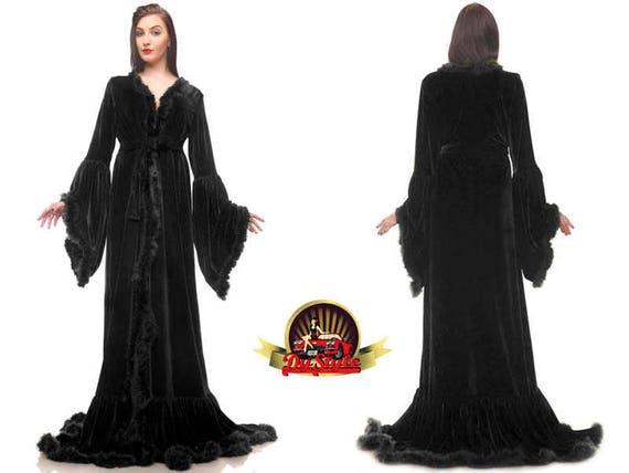 Black Velvet Dressing Gown Plus Size Velvet Gown Renaissance Etsy