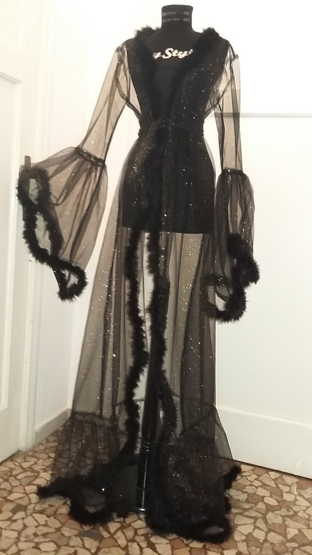 Shiny Dressing Gown Burlesque Lingerie Feather Robe Stage   Etsy