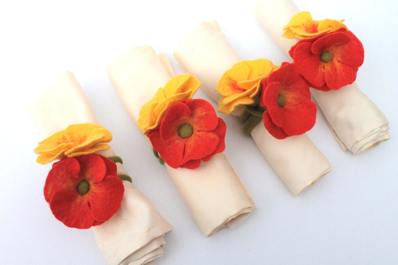 Poppies 4 pieces For napkins Decorate Summer Party