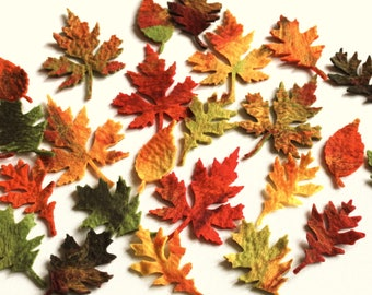 10 pieces large felted leaves colorful to tinker and decorate colorful leaves for autumnal decoration, season table