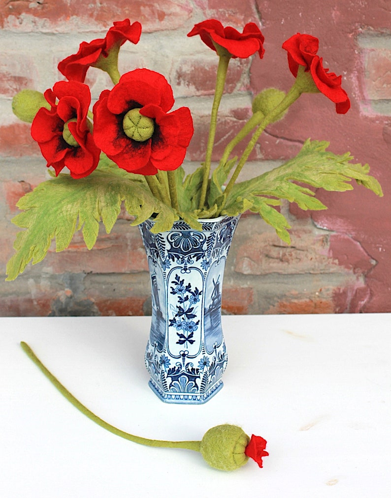 Great poppies for the country style for all lovers of felt flowers a special gift for the mother or the girlfriend