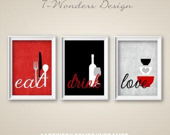 astonishing white kitchen red accents | Red kitchen decor | Etsy