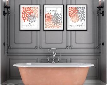C Bathroom Print, Peach And Gray Bathroom Decor