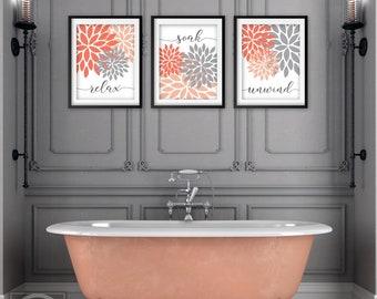 Gray Bathroom Decor Etsy