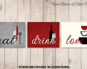 Kitchen Wall Art Print Set Eat Drink Love Rustic Red Grey Etsy