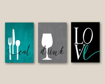 Kitchen Wall Art Print Set, Eat Drink Love, Utensils Wine // Teal, Grey,  Black // Modern Decor // Set Of (3) Many Sizes // Unframed