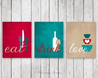 Elegant Kitchen Wall Art Print Set   Eat Drink Love   Red, Teal, Tan, White //  Modern Kitchen Decor // Set Of (3) Many Sizes // Unframed