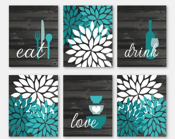 Superieur Rustic Kitchen Wall Art Prints, Eat Drink Love, Flower Bursts, Teal  Turquoise, Farmhouse Decor, Set Of (6) Many Sizes, Unframed Paper Prints