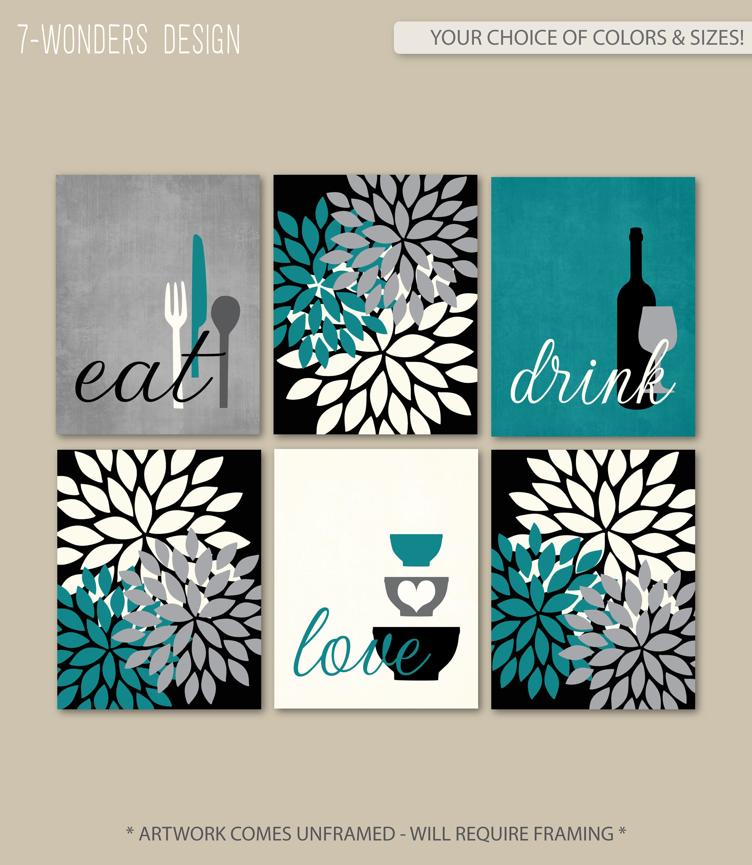 Kitchen Wall Art Print Set Eat Drink Love Flower Bursts | Etsy