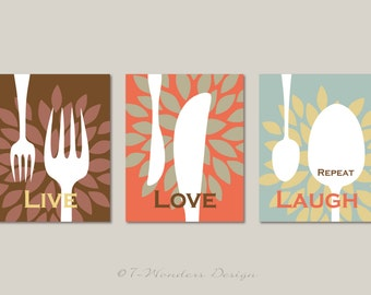 Kitchen Art Print Set -Live Love Laugh Repeat - Set of (3)  Prints - Brown, Coral, Sea Foam // Kitchen Decor, Fork Knife Spoon - Unframed