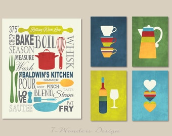 Kitchen Art Prints Personalized Subway Art with Coffee, Wine and Hearts Prints - Set of (5) - 5 x 7's and 11 x 14 // Modern Kitchen