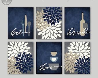 Kitchen Wall Art Print Set, Eat Drink Love, Flower Bursts, Navy Gray Tan Cream, Modern Decor, Set of (6)  Unframed Paper Prints or Canvas
