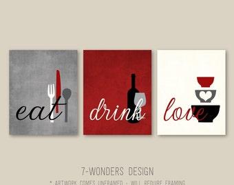 Kitchen Wall Art Print Set  Eat Drink Love   Rustic Red, Grey, Black, Cream // Modern Kitchen Decor // Set of (3)   Prints or Canvas