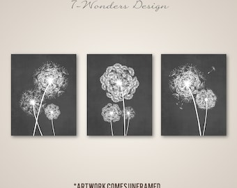 Dandelion Wall Art Prints, Charcoal Grey Flower Art, Living Room Bedroom Bathroom Floral Decor Set of (3) Unframed Paper Prints or Canvas