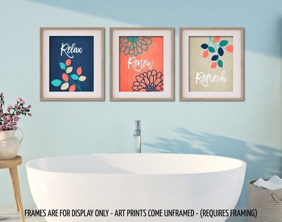 Marine corail salle de bain beige turquoise mur estampes, relaxer  renouveler Refresh citations, fleurs feuilles, décor de salle de bain  Turquoise, ...