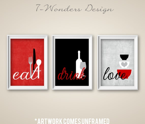 Kitchen Art Red: Kitchen Wall Art Print Set Eat Drink Love Red Grey