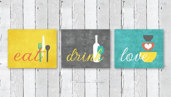 Kitchen Wall Art Print Set Eat Drink Love Mustard Yellow Etsy