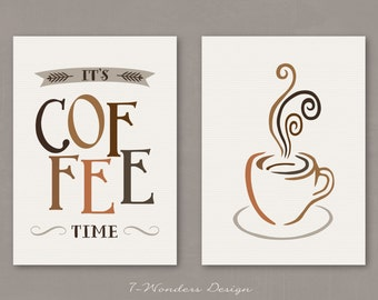 "Modern Kitchen Art Prints - It's Coffee Time and Cup- Set of (2) 5x7, 8x10 or 11"" x 14"" // Neutral Browns // Modern Kitchen Art Decor"