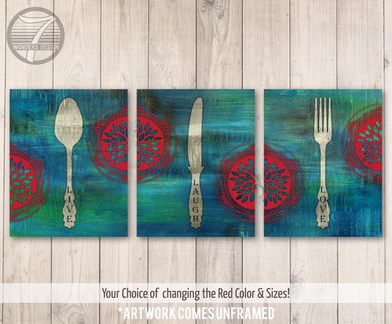 Artistic Kitchen Wall Art Print Set Live Laugh Love Fork Etsy