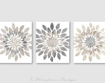 Modern Flower Bursts Neutral Colors Fine Art Print Grey, Tan, Dust, Cottage, Home, Apartment Wall Art Set of (3) Unframed Prints OR Canvas