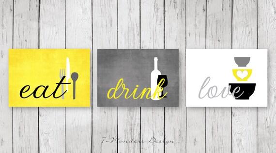 Kitchen Wall Art Print Set Eat Drink Love Yellowgrey Etsy