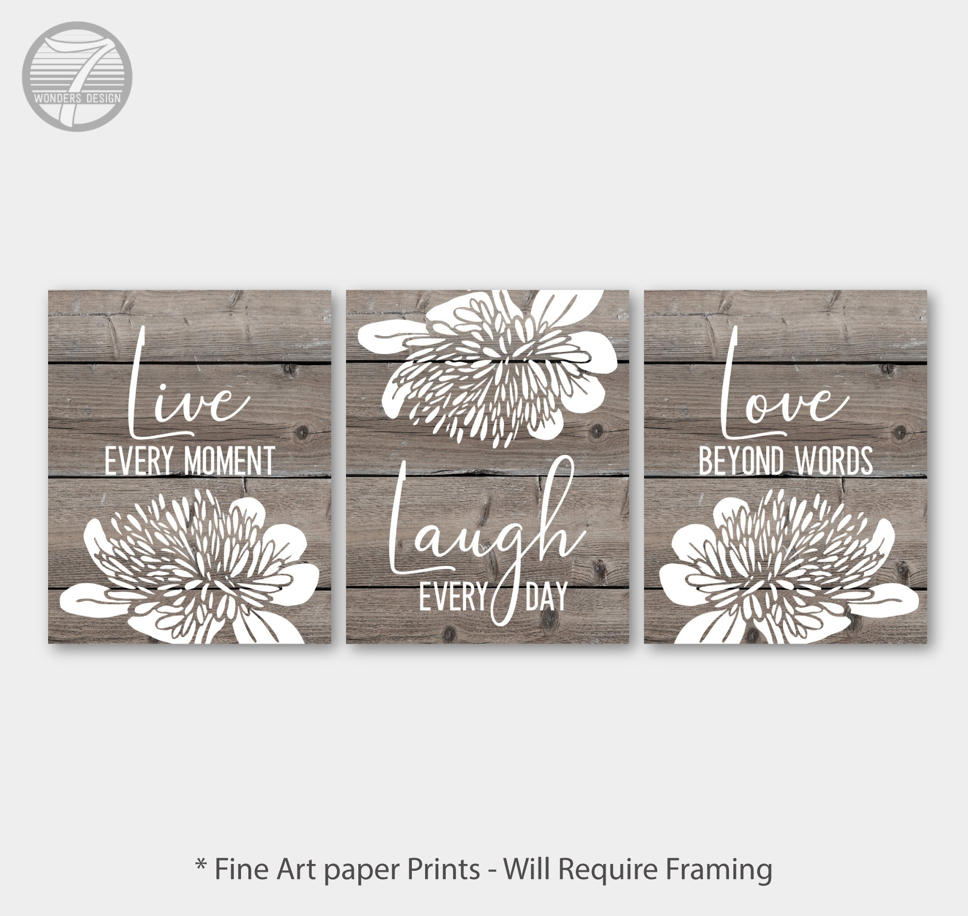 Live Laugh Love Wall Art Part - 19: Live Laugh Love Wall Art, Cottage Faux Wood Farmhouse with Floral, Fine Art  Print Set of (3) 5x7, 8x10 OR 11x14 Home, Home Decor - UNFRAMED