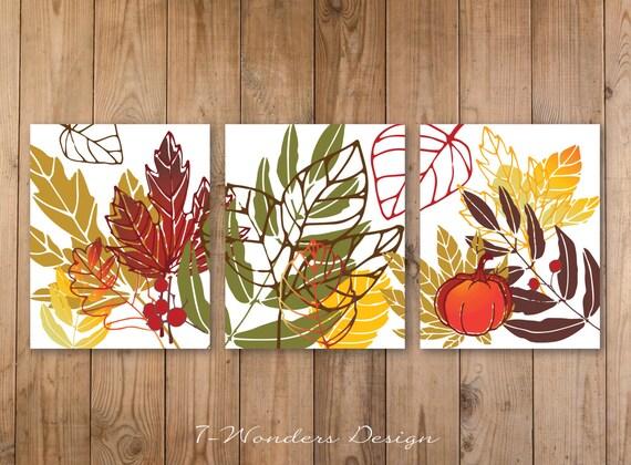 Fall Autumn Wall Art Print Set Pumpkin Fall Leaves Art // | Etsy