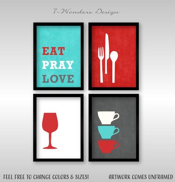 Modern Kitchen Wall Art Print Set Inspirational Eat Pray Etsy
