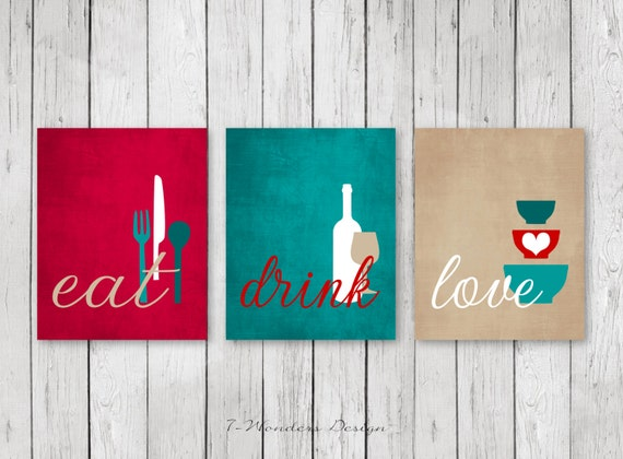 Ordinaire Kitchen Wall Art Print Set Eat Drink Love Red Teal Tan | Etsy