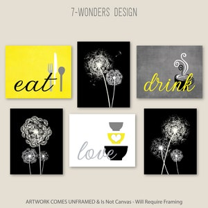 Kitchen Wall Art Print Set Eat Drink Love Dandelions Etsy