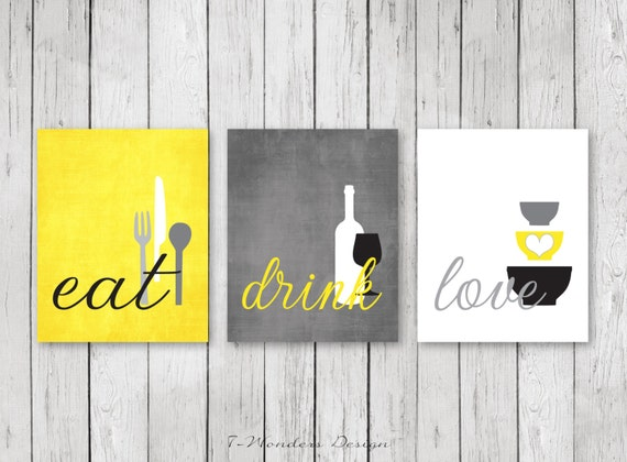 Kitchen Wall Art Print Set Eat Drink Love Yellow Grey | Etsy