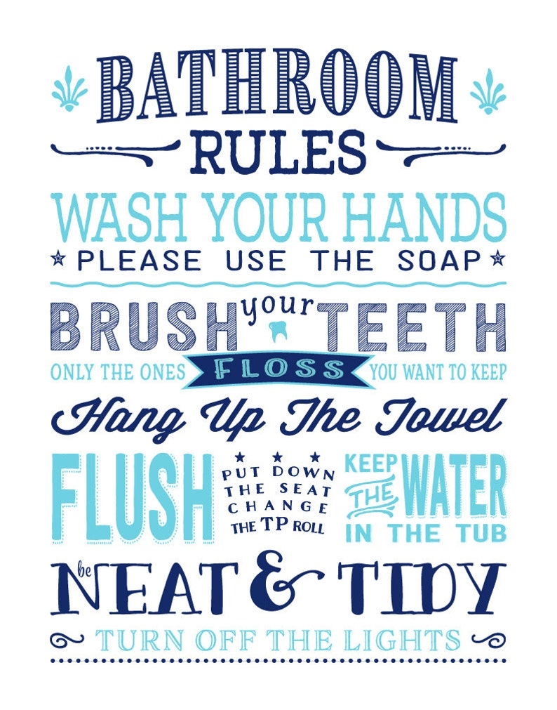 Kids Bathroom Rules Art Print Pre-Teen Bathroom Subway | Etsy