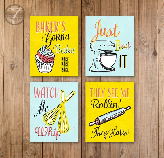 Funny Kitchen Quotes Art Set Bakers Cupcake Whisk Rolling Pin Etsy