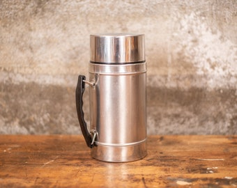 Soup Thermos Powder Blue Geometric Design Vintage Thermos Brand Insulated Bottle Metal