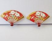 Vintage Toshikane Arita Porcelain Japan Chrysanthemum Autumn Scene Fan Earrings