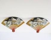 Vintage Toshikane Arita Porcelain Japan Winter Scene Fan Earrings