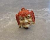 Vintage Japanese Bishamonten God of Dignity God of Fortune Hand Painted Toshikane Arita Enameled Porcelain Tie Pin