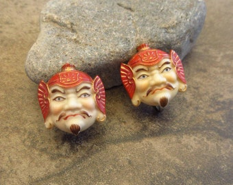TOSHIKANE Tie Clip Tie Bar Noh Mask Lady Japan Vintage Arita~Ko-Omote Gift for Him Gift for Husband Gift for Dad Gift for Son Gift for Bro