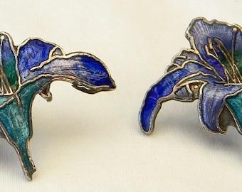 Vintage Pierre Bex Cloisonne Lily Flower Earrings