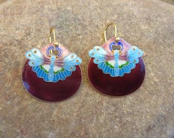 "Vintage Laurel Burch 1970s Cloisonné Enamel ""Full Moon Butterfly"" Japanese Kamon Family Crest NOS Sterling Silver Gold Wash Pierced Earrings"