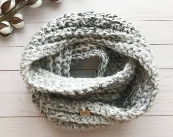 Chunky Infinity Scarf, Grey & White Marble, Wool Blend