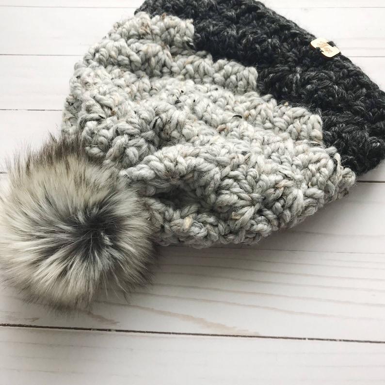 Madison Beanie Choose Your Colors Crochet Faux Fur Pom Pom Hat