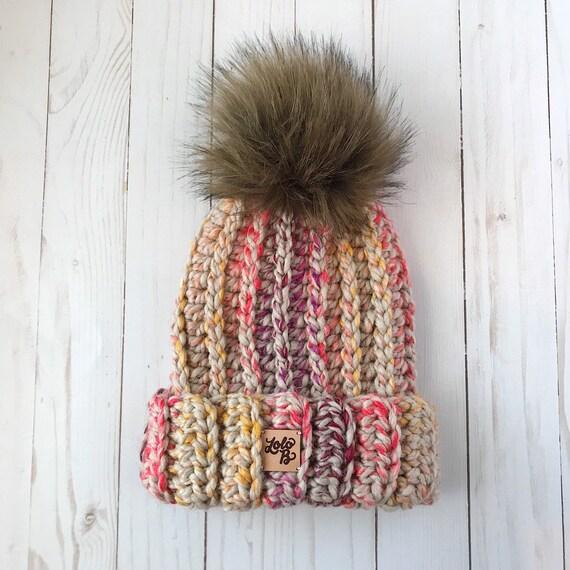 cc11ed9f501 READY TO SHIP Child Size Ribbed Beanie Wool Blend Faux Fur