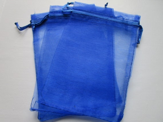 Lot 10 organza pouches bags blue roya 7 x 9 cm wedding baptism gifts jewelry