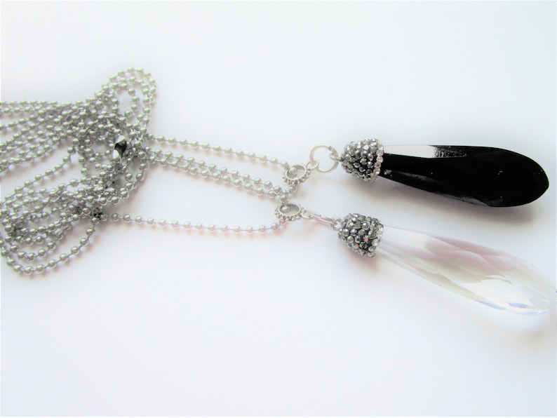 Clear  Black Teardrop Crystal Pendant Black crystal pendant Bejeweled Crystal Pendant Clear crystal pendant Stainless steel chain