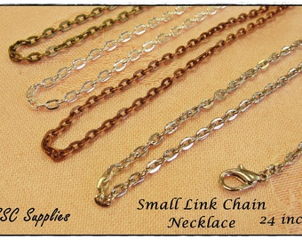 """100 Small Link Chain Necklace- 24""""- 2 x 3 Oval Link, Antique Brass Chain, Silver Chain, Antique Copper Chain, Antique Silver, Jewelry Chain"""