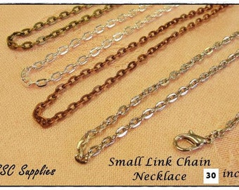 """20 Small Link Chain Necklace- 30"""" - 2 x 3 Oval Link, Antique Brass Chain, Silver Chain, Antique Copper Chain, Antique Silver, Jewelry Chain"""