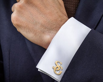 Gold-plated Cufflinks wedding bride to groom gift, Initials Cufflinks Personalized