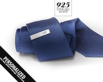 Slim tie clip - Monogram Tie Clip personalized - Tie Clip Initials