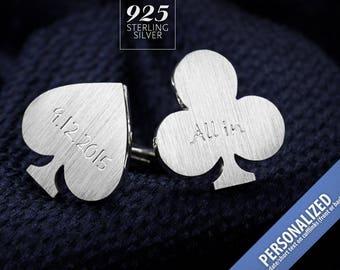 Groom cufflinks – Wedding cufflinks engraved – Poker cufflinks in Sterling Silver – Bride to groom gift